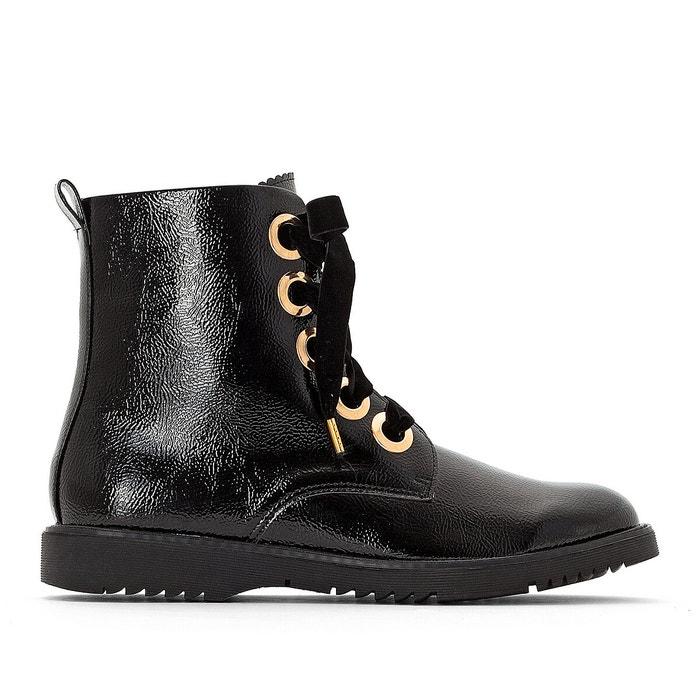 Boots vernie à lacets, œillets doré, pied large noir La