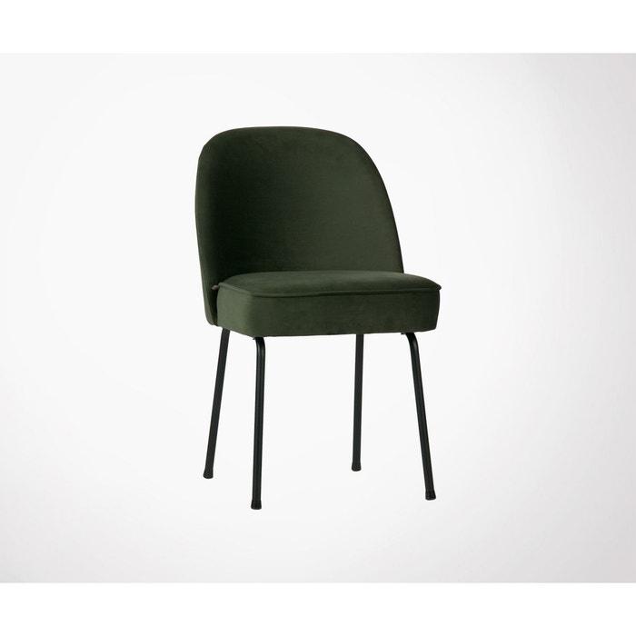 2 chaises design en velours vogue vert foncé Woood | La