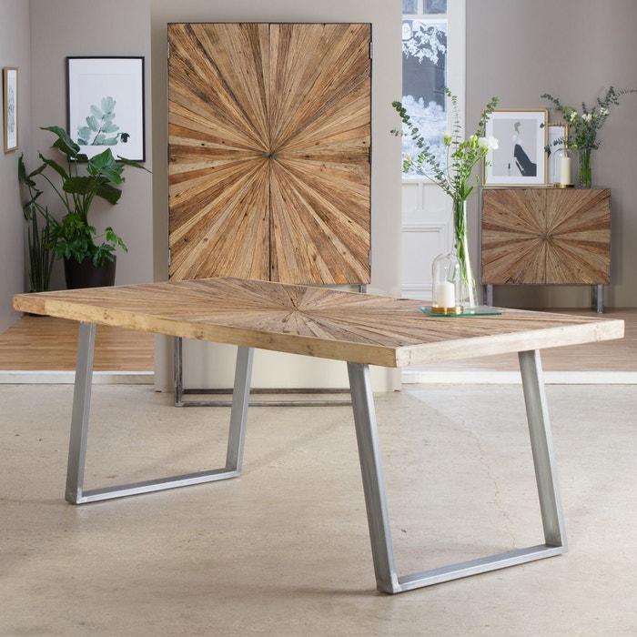 Table A Manger Soleil Bois Brut Pieds Metal Gris B80