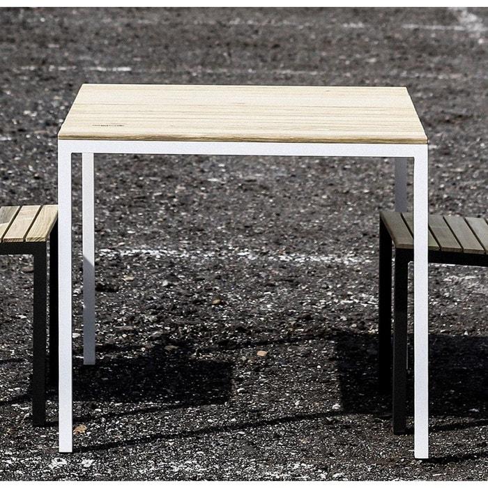 Table de jardin carrée CORA en aluminium blanc et Acacia naturel EGOE