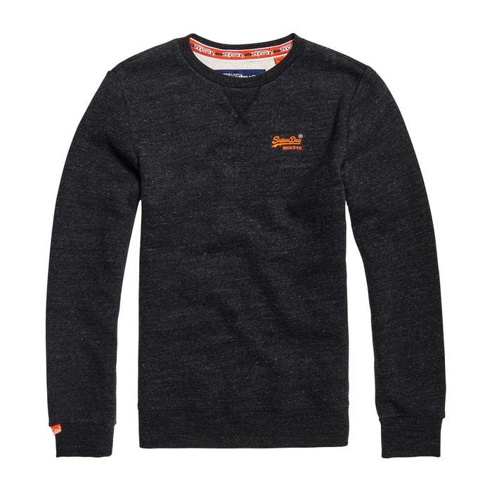 superdry orange label pull classique col v bleu marine