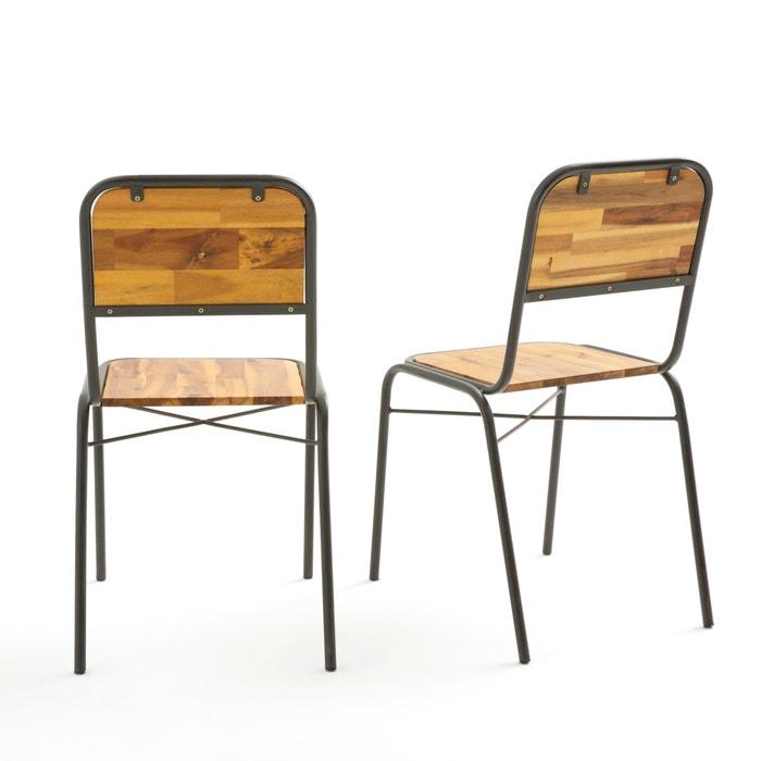 Hiba tubular steel & wood chairs (set of 2) , aged grey, La
