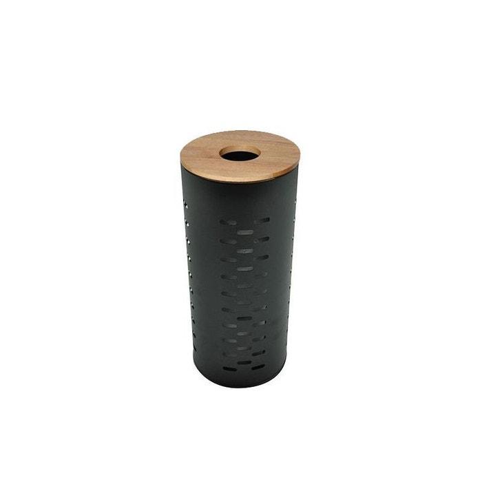 Rangement Stock Rouleaux Papier Toilette Metal Noir Et Bois Noir Wadiga La Redoute