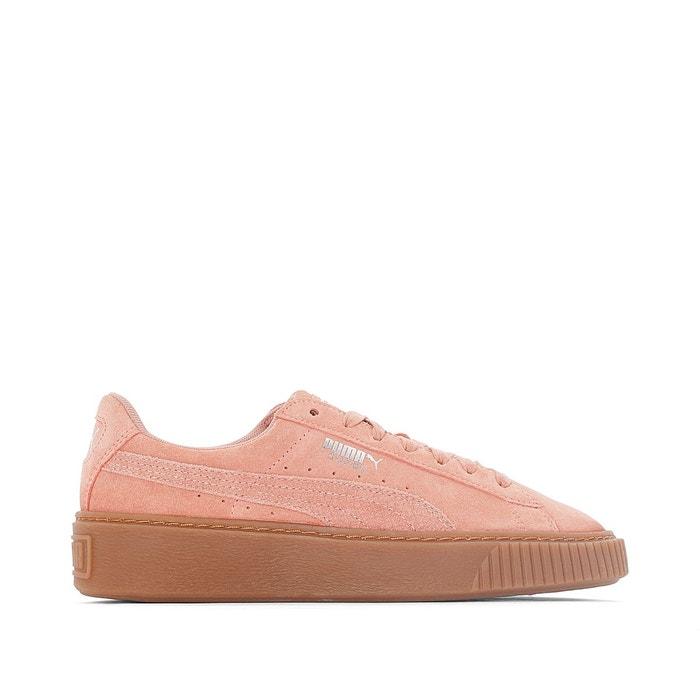 Femme Basket Puma Suede Platform Core Gum Rose Chaussure pas