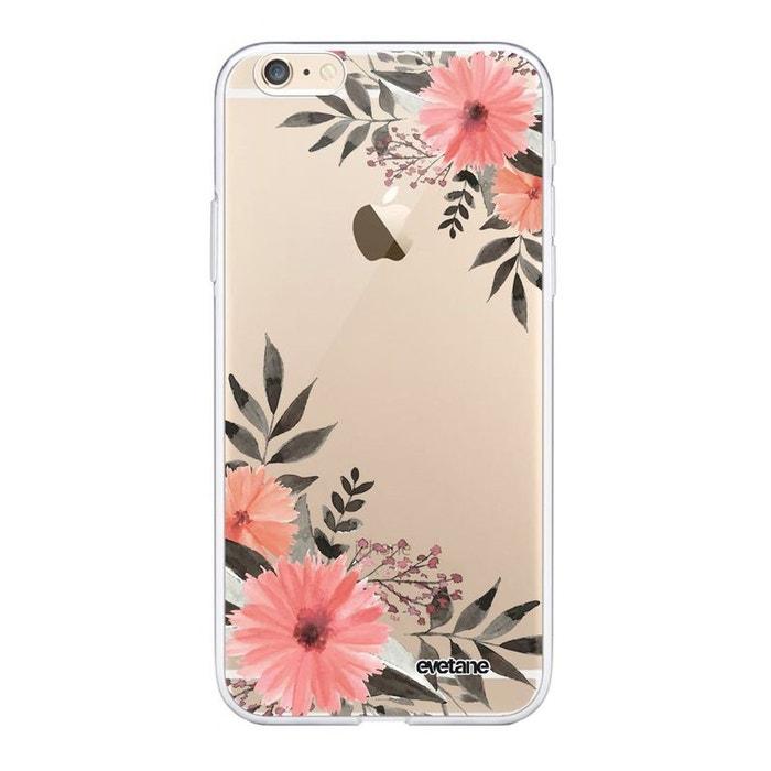 Coque iphone 6/6s souple silicone transparente fleurs roses ...
