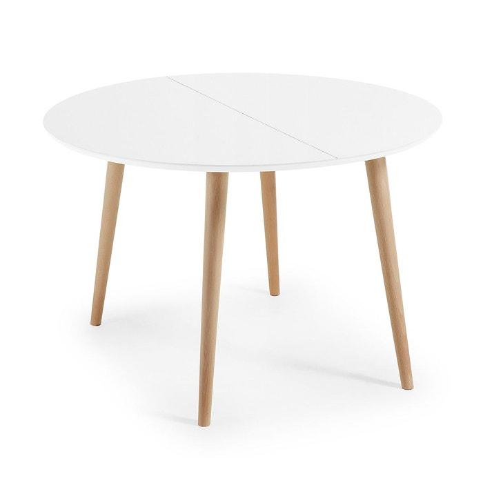 Table oqui extensible ronde 120 (200) x 120 cm blanc naturel