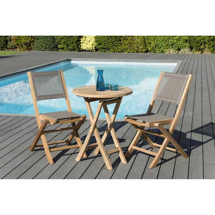 Salon de jardin bois de teck table de jardin pliante ronde 60cm + 2 chaises  pliantes textilène SUMMER