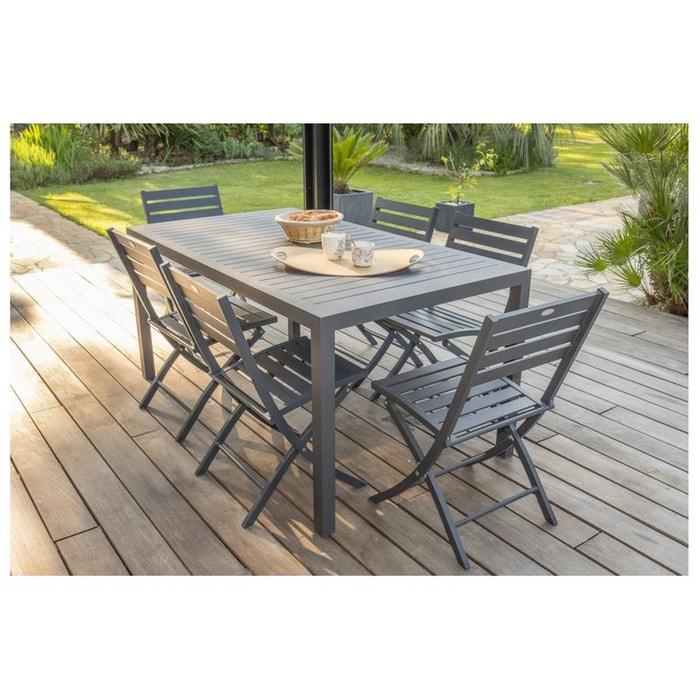 Ensemble table jardin miami et 6 chaises pliantes marius ...