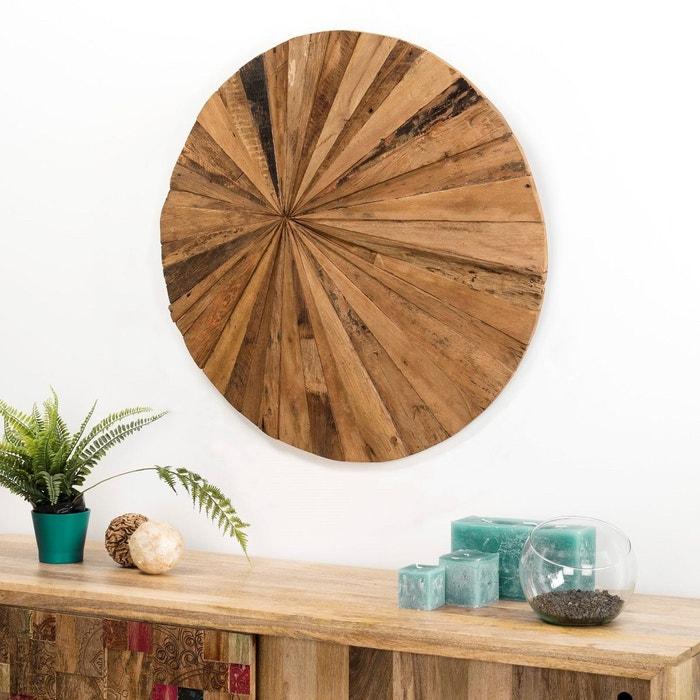 Décoration murale bois de teck ronde ottawa bois naturel