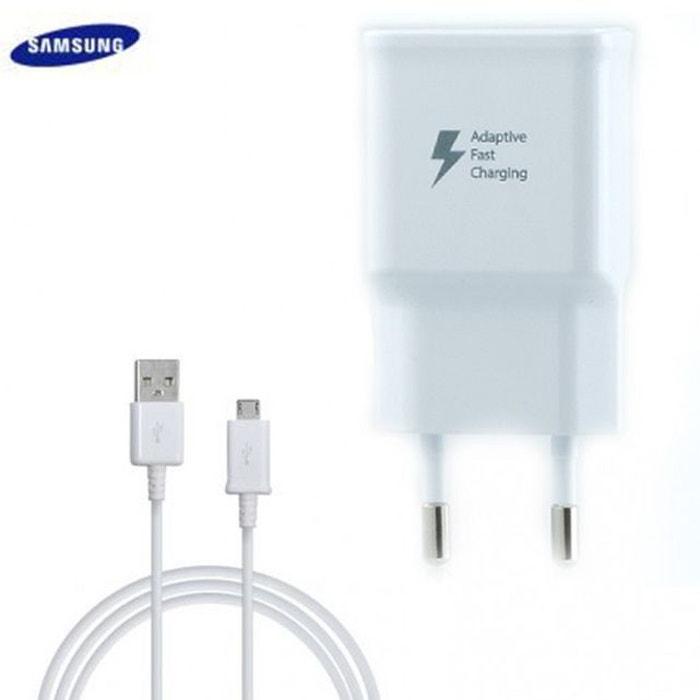 Chargeur Rapide Samsung Galaxy J7 2017 Blanc câble 1,5 M