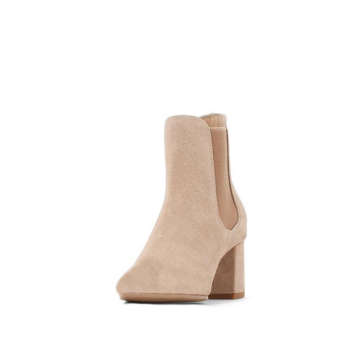 best service c8e51 980c6 Chelsea-boots mit absatz, glattleder beige La Redoute ...