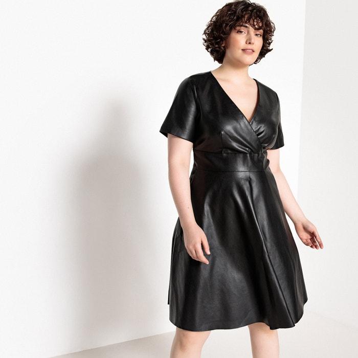 Faux leather wrapover skater dress Castaluna Plus Size   La ...