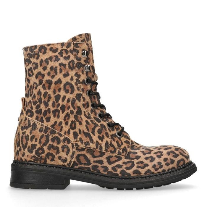 brun Bottines lacets léopard Sacha à en avec daim imprimé wO80Pkn
