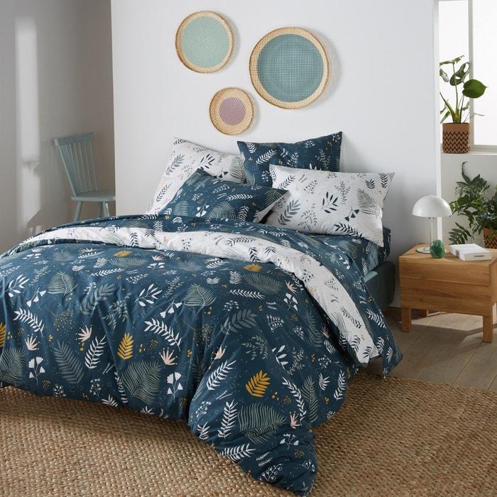 Copripiumino La Redoute.Suzanne Foliage Print Cotton Percale Flat Sheet Blue Print La