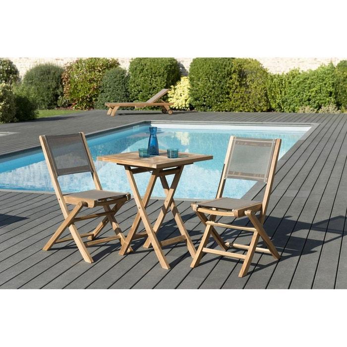 Salon de jardin bois de teck table de jardin pliante carrée 60x60cm + 2  chaises pliantes textilène SUMMER