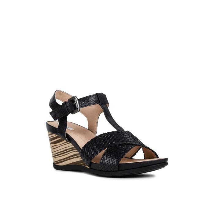 Sandales compensées respirantes en cuir dorotha noir Geox