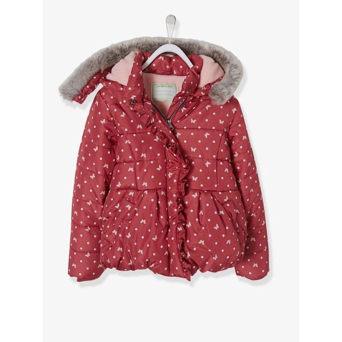 Doudoune fille imprimée à capuche rose imprimé