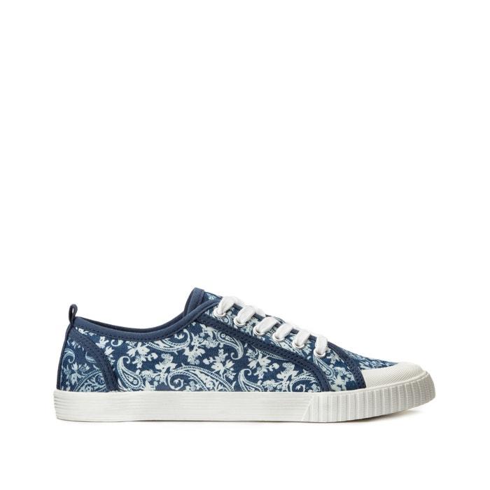 Baskets à lacets en toile à fleurs imprimé fleurs fond bleu COLLECTIONS