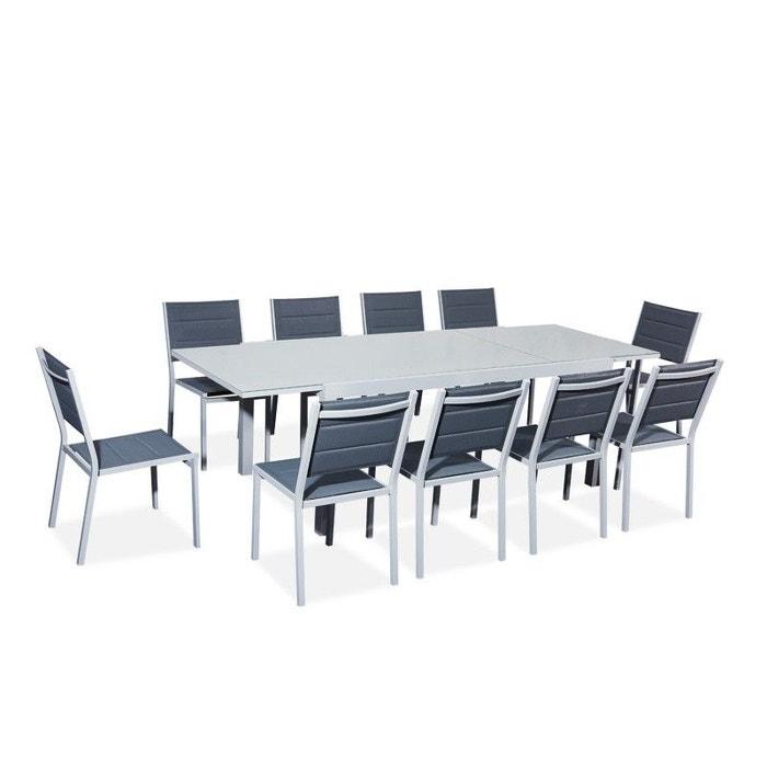 Table De Jardin Extensible Aluminiumverre 180240cm 10 Chaises Empilables Textilène Gris Gris Foncé Verone