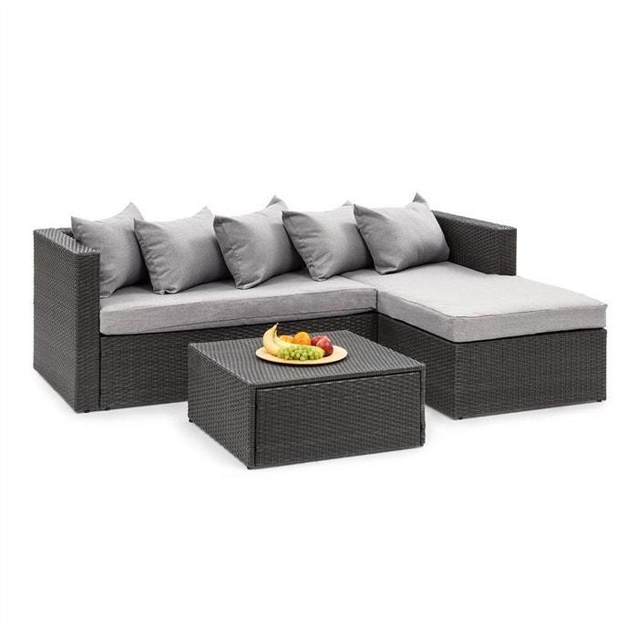 Theia lounge salon de jardin complet polyrotin noir & gris ...
