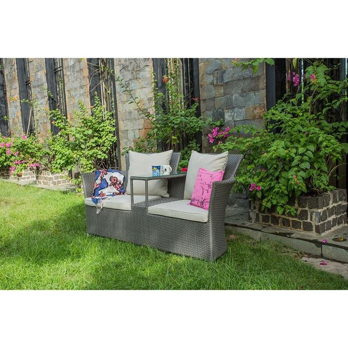Canapé de jardin two en polyrotin gris anthracite Rotin ...
