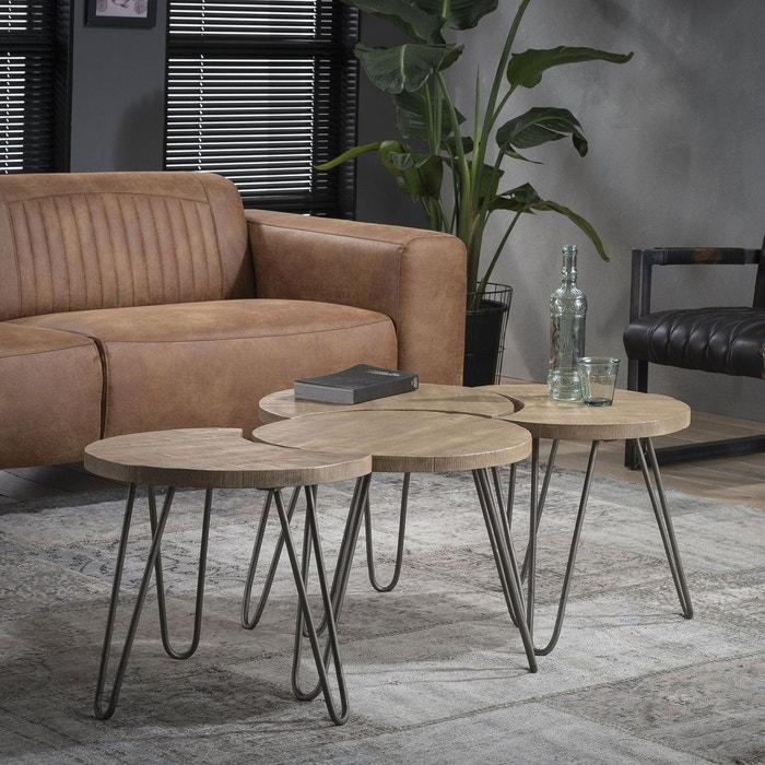 Table basse modulable ronde bois pied épingle (4 pièces ...
