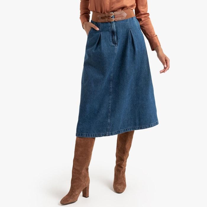 Jupe évasée en jean mi longue bleu stone La Redoute