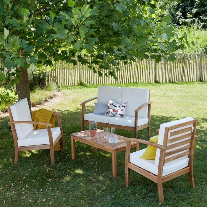Salon de jardin en bois d\'acacia fsc 4 places blanc Bois ...