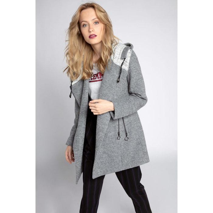 Manteau léger doublé à capuche gris clair femme   Cache Cache