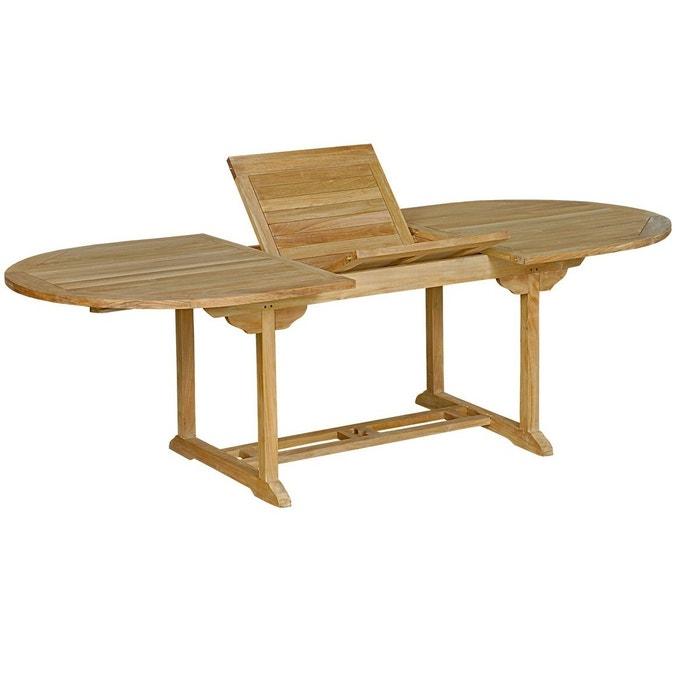 Table de jardin en teck brut : table ovale à rallonge Wood ...