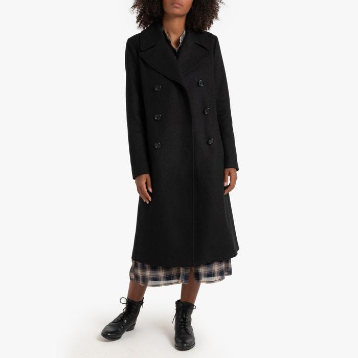 Getailleerde lange jas in wollen stof zwart La Redoute