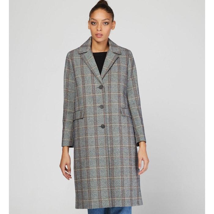 Manteau cobalt long à carreaux multicolore Galeries