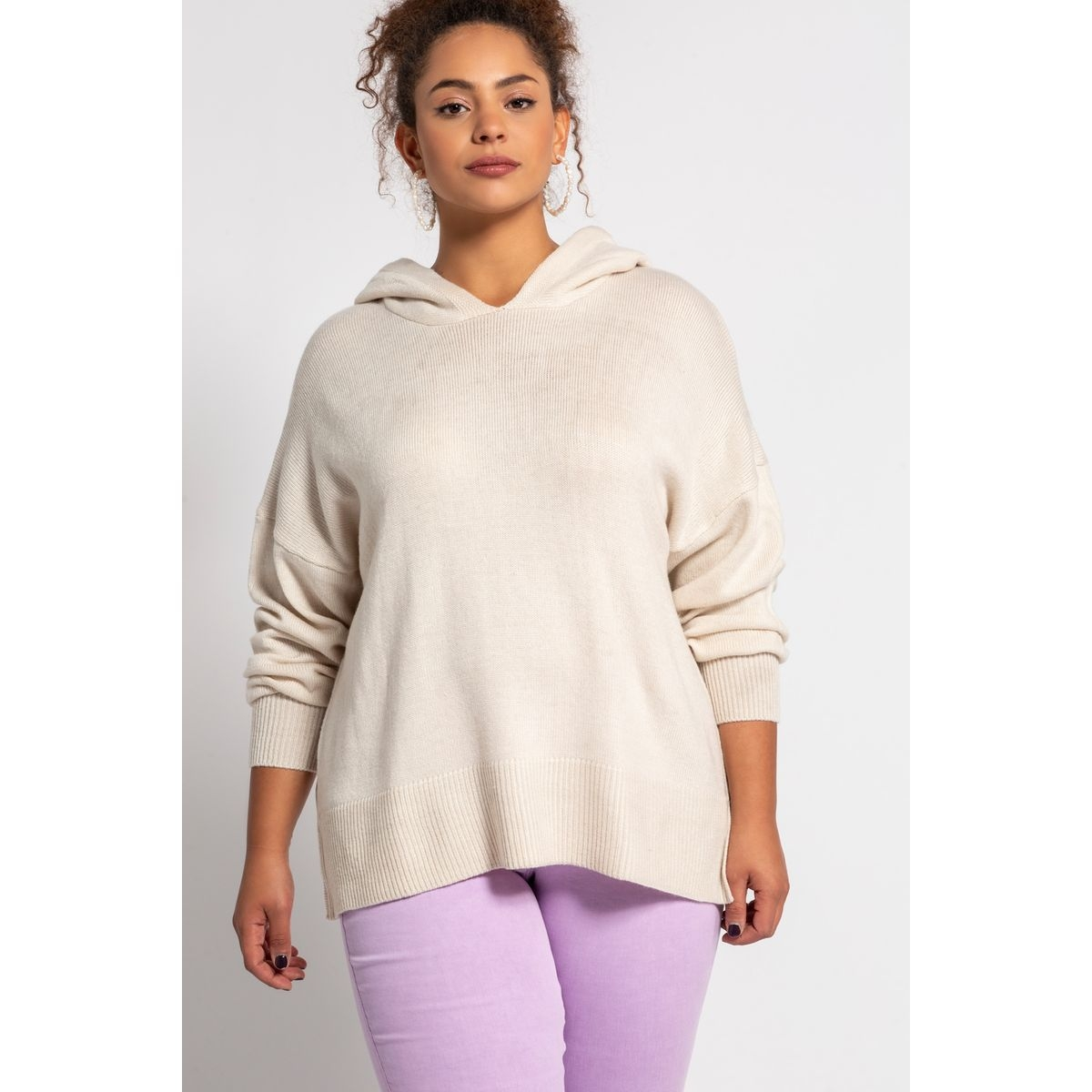 Pull, capuche, oversized, manches longues
