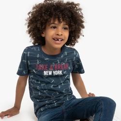 Camiseta con cuello redondo, estampada de skates, 3-12 años
