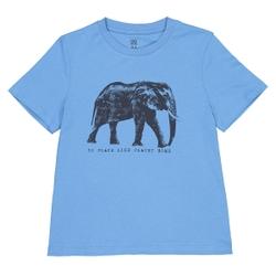Camiseta de cuello redondo con estampado de elefante 3-12 años