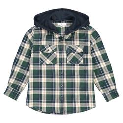 Camisa de cuadros, capucha extraíble 3-12 años