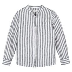Camisa de rayas con cuello mao en lino mezcla 3-12 años