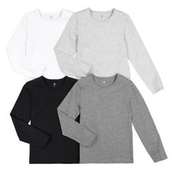 Lote de 4 camisetas interiores, algodón orgánico 3-14 años