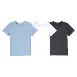 Lote de 3 camisetas lisas de cuello redondo de algodón orgánico de 3 a 12 años