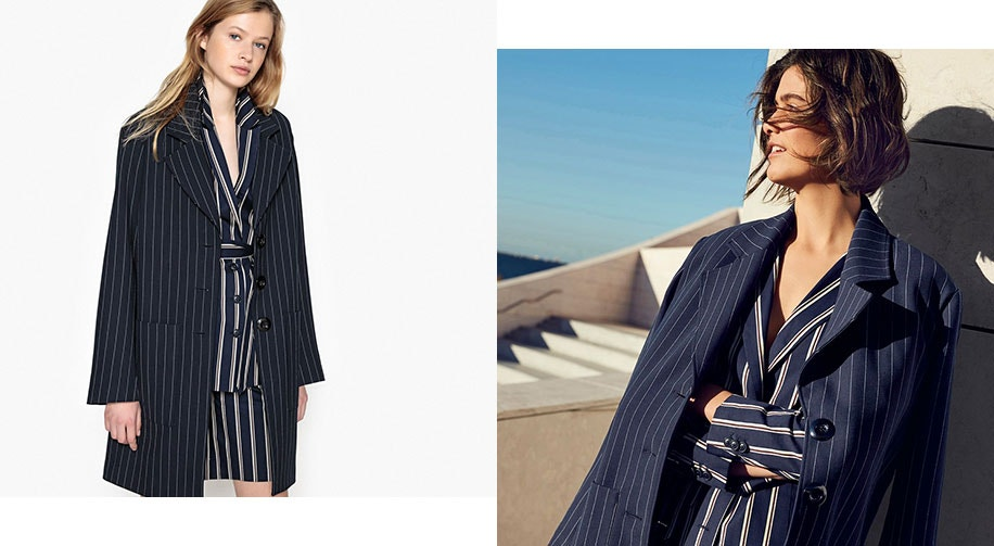Ovoid-Shape Striped Overcoat