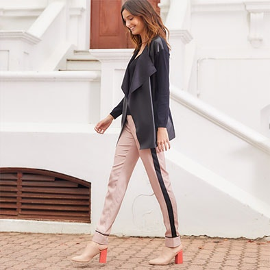 Striped Silk Style Trousers